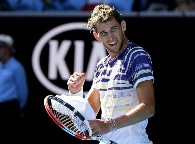 Austria's Dominic Thiem celebrates after defeating Taylor Fritz of the U.S. in their third round singles match at the Australian Open tennis championship in Melbourne, Australia, Saturday, Jan. 25, 2020. (AP Photo/Andy Brownbill)