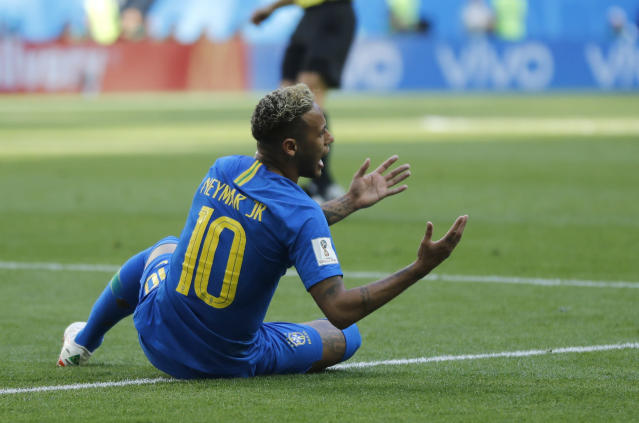 Brazil's Neymar reacts after falling in the penalty area during the group E match between Brazil and Costa Rica at the 2018 soccer World Cup in the St. Petersburg Stadium in St. Petersburg, Russia, Friday, June 22, 2018. (AP Photo/Petr David Josek)