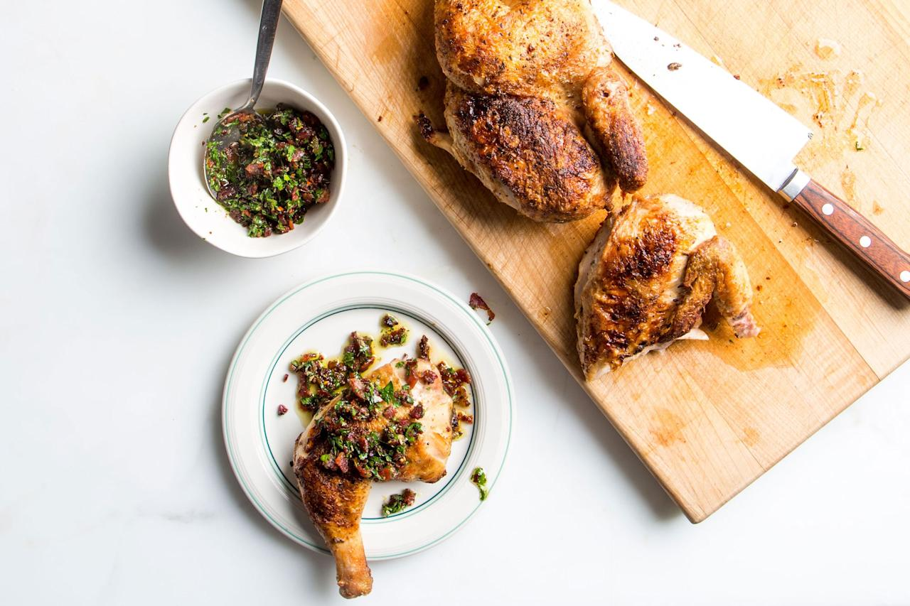 "Get all the garlicky, herby flavors of classic Italian porchetta in an easy roast chicken recipe. Crispy bacon bits included! <a href=""https://www.epicurious.com/recipes/food/views/fennel-rubbed-chick-etta?mbid=synd_yahoo_rss"">See recipe.</a>"
