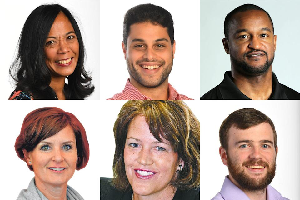 USA TODAY Sports journalists covering the Tokyo Summer Olympics include, clockwise from top left: Sports Managing Editor Roxanna Scott; reporter Chris Bumbaca; reporter Tyler Dragon; reporter Tom Schad; columnist Christine Brennan; and columnist Nancy Armour.