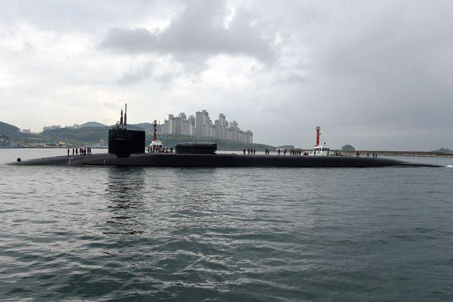 Ohio-class guided-missile submarine USS Michigan in South Korea. Source: EPA/US Navy