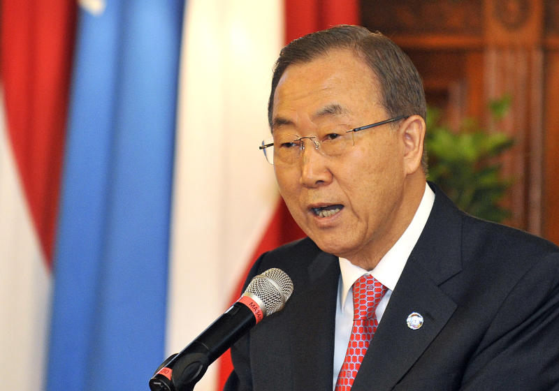 UN Secretary General Ban Ki-moon delivers a speech during an awarding ceremony where he received the Grand Decoration of Honour in Gold for Services to the Province of Vienna at the city hall in Vienna, Austria, on Thursday, August 29, 2013. (AP Photo/Hans Punz)