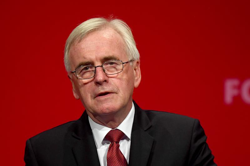 Shadow chancellor John McDonnell delivers his speech during the Labour Party conference in Brighton