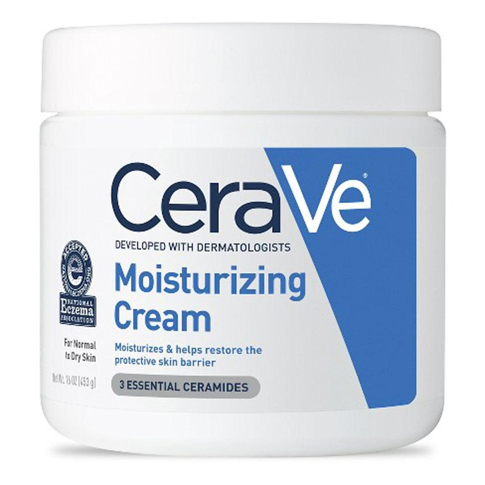 """<p>Another recommendation from Marchbein, CeraVe's Moisturizing Cream contains ceramides (a lipid naturally found in the skin), as well as glycerin and hyaluronic acid to deeply moisturize dry and irritated skin. """"This cream can help restore the skin's protective barrier and hydration,"""" she says, adding that it keeps the barrier itself intact and retains moisture in the skin.</p> <p><strong>$19</strong> (<a href=""""https://shop-links.co/1635730354033957269"""" rel=""""nofollow noopener"""" target=""""_blank"""" data-ylk=""""slk:Shop Now"""" class=""""link rapid-noclick-resp"""">Shop Now</a>)</p>"""