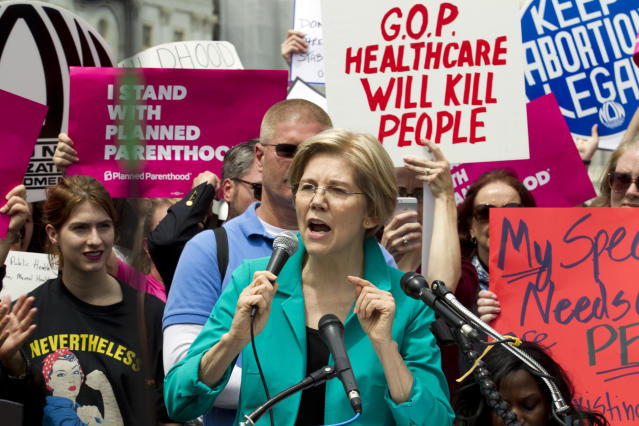 Sen. Elizabeth Warren (D-Mass.) speaks during a demonstrator on Capitol Hill in Washington, Thursday, May 4, 2017. ( AP Photo/Jose Luis Magana)