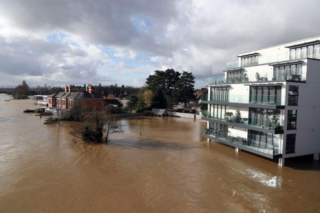 A flooded rRver Wye in Hereford.