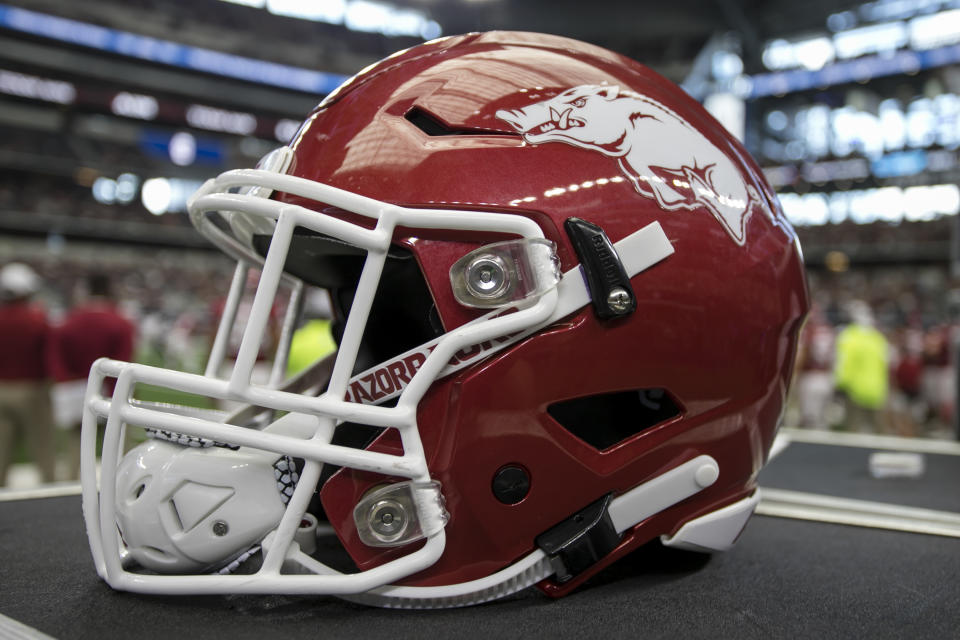 ARLINGTON, TX - SEPTEMBER 28: A Arkansas Razorbacks helmet during the game between the Texas A&M Aggies and the Arkansas Razorbacks on September 28, 2019 at AT&T Stadium in Arlington, Texas. (Photo by Matthew Pearce/Icon Sportswire via Getty Images)