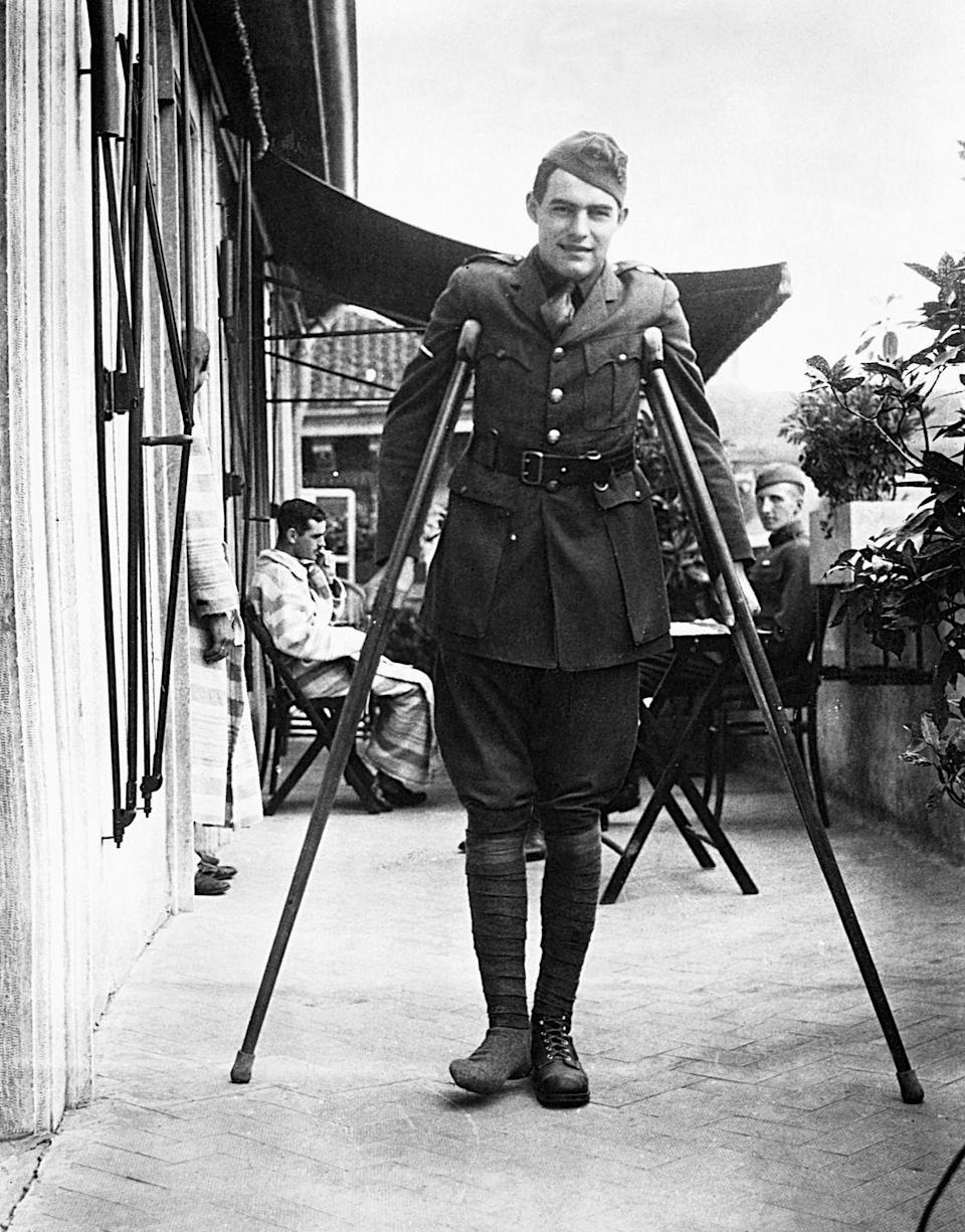 """<p>While serving on the Italian front, specifically along the Piave delta, Hemingway was <a href=""""https://www.history.com/this-day-in-history/ernest-hemingway-wounded-on-the-italian-front"""" rel=""""nofollow noopener"""" target=""""_blank"""" data-ylk=""""slk:struck by an Austrian mortar shell"""" class=""""link rapid-noclick-resp"""">struck by an Austrian mortar shell</a> and wounded. He was awarded an Italian Medal of Valor for his service. His time during the war later served as inspiration for his novel,<em> <a href=""""https://www.amazon.com/Farewell-Arms-Ernest-Hemingway/dp/0099910101?tag=syn-yahoo-20&ascsubtag=%5Bartid%7C10067.g.36892485%5Bsrc%7Cyahoo-us"""" rel=""""nofollow noopener"""" target=""""_blank"""" data-ylk=""""slk:A Farewell to Arms"""" class=""""link rapid-noclick-resp"""">A Farewell to Arms</a>.</em></p>"""
