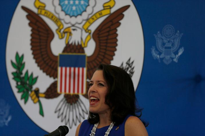 "Kelly Keiderling, Charge d'Affairs of the U.S. embassy in Venezuela, gives a news conference after Venezuela's President Nicolas Maduro expelled her and two other embassy officials from the country, in Caracas, Venezuela, Tuesday, Oct. 1, 2013. Maduro alleged they conspired with ""the extreme right"" to sabotage the economy and power grid. Keiderling said the allegations were related to the their visit to Bolivar state, home to state-owned foundries and the country's main hydroelectric plant. On Monday night they were given 48 hours to leave Venezuela. (AP Photo/Fernando Llano)"