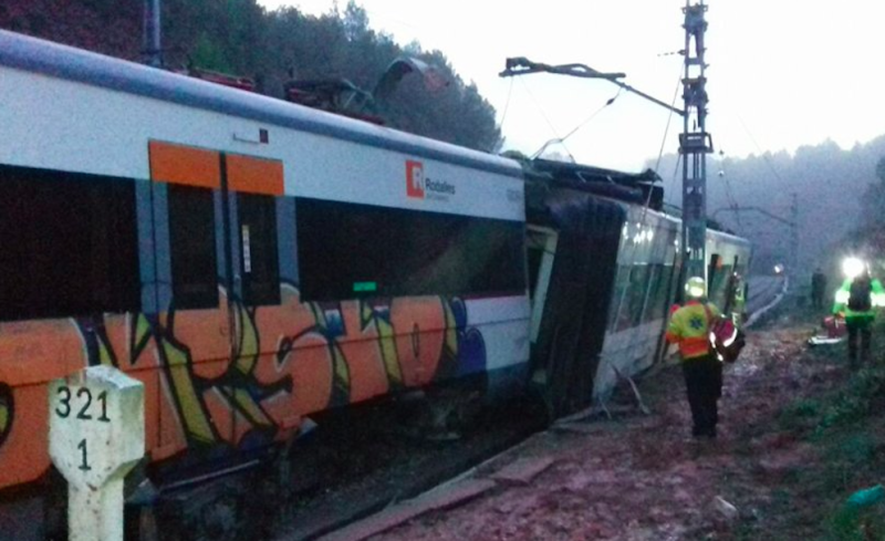 Train derails near Barcelona, killing one and injuring six