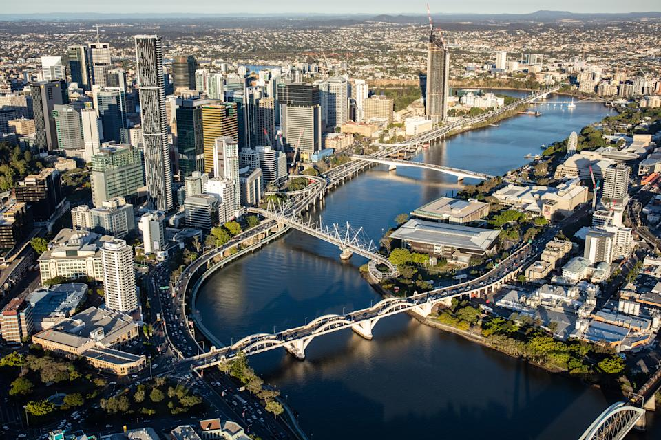 A view of Brisbane from a helicopter.