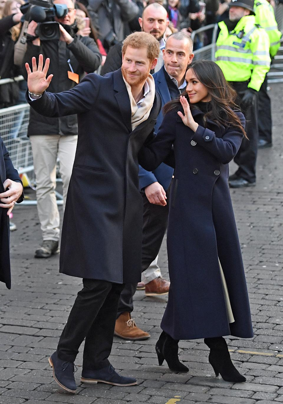 Meghan Markle opted for a pair of boots from Kurt Geiger during a visit to Nottingham with Prince Harry in 2017. (Getty Images)