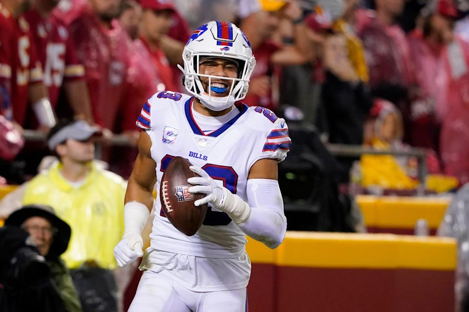 Buffalo Bills safety Micah Hyde celebrates after running an interception back for a touchdown during the second half of an NFL football game against the Kansas City Chiefs Sunday, Oct. 10, 2021, in Kansas City, Mo.