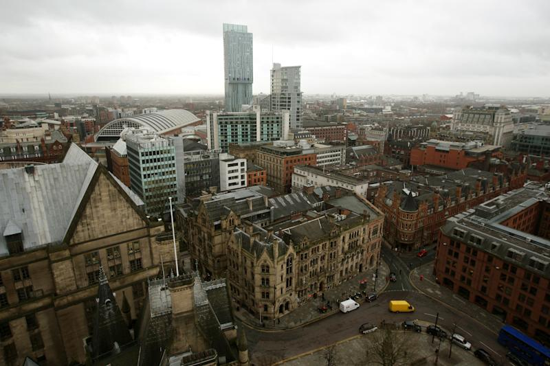 General view of Manchester city centre from the top of Manchester Town Hall.