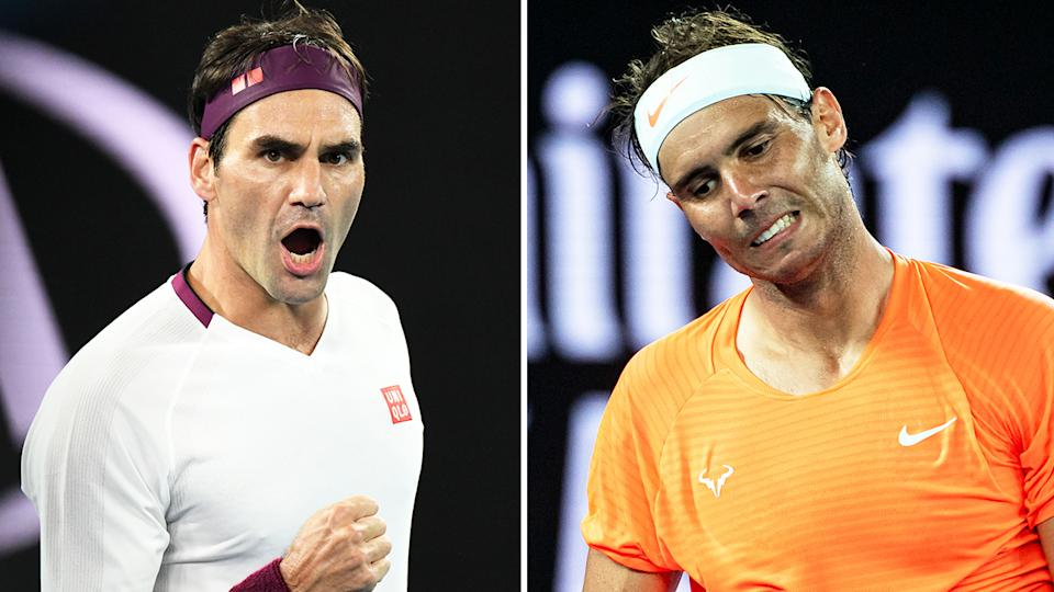 Rafa Nadal (pictured right) frustrated after losing a point and Roger Federer (pictured left) celebrating with a fist-pump.