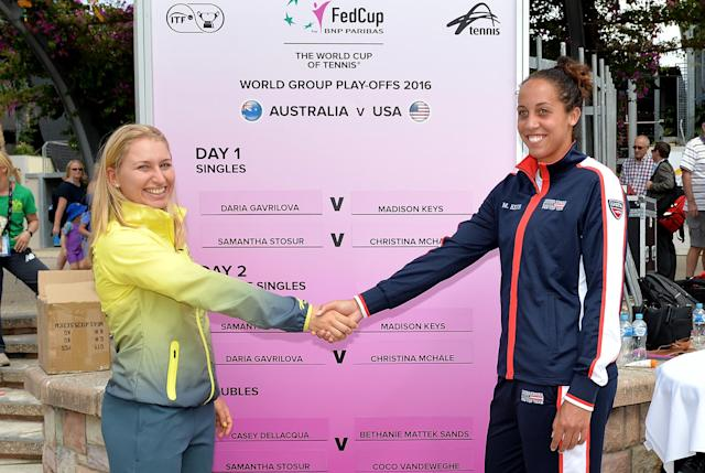 BRISBANE, AUSTRALIA - APRIL 15: Daria Gavlirova and Madison Keys shake hands during the official draw for the Fed Cup tie between Australia and the United States at Southbank on April 15, 2016 in Brisbane, Australia. (Photo by Bradley Kanaris/Getty Images)