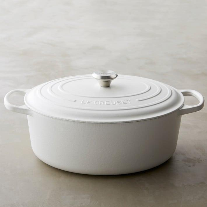 <p><span>Le Creuset's french oven</span> ($435) is a classic among chefs and home cooks, thanks to incredible heat retention and a porcelain coating that holds up against acid, odors, and stains. It's the ultimate piece of cookware for whipping up everything from soups to casseroles and works just as well on the stove as it does in the oven, making it incredibly versatile.</p> <p><br></p>
