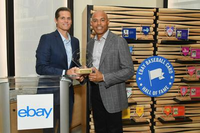 "Steve Wymer, eBay's Chief Communications Officer, presents Mariano Rivera with the ""Diamond Award"" at eBay's inaugural Baseball Card Hall of Fame induction ceremony at Crown Shy in New York City on June 11. The award recognizes Rivera's work on and off the field with the Mariano Rivera Foundation."