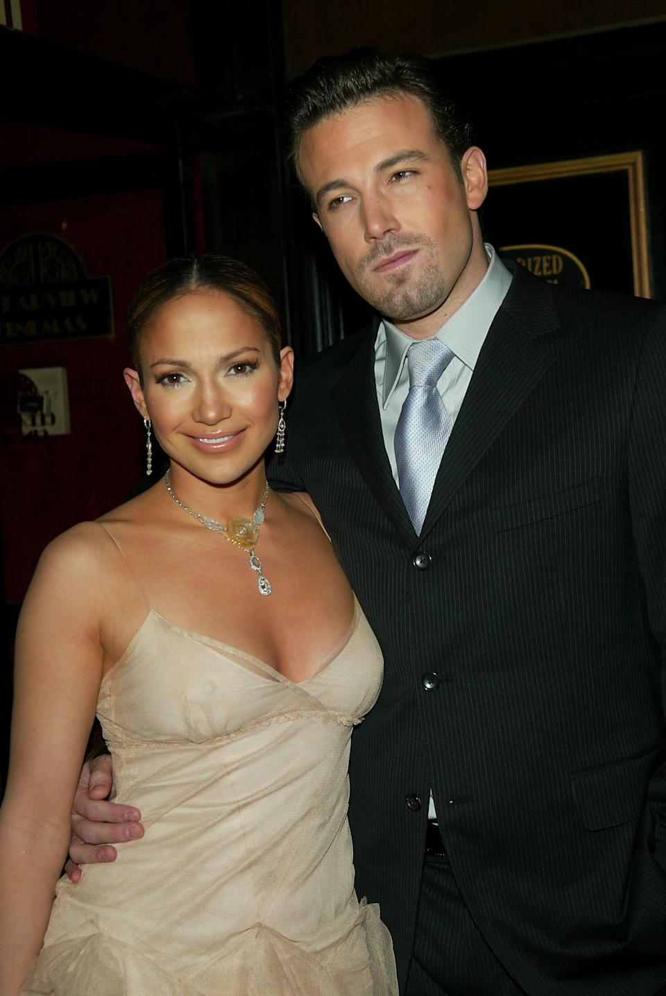 """Jennifer Lopez and Ben Affleck at the premiere of """"Maid in Manhattan"""" in 2002."""