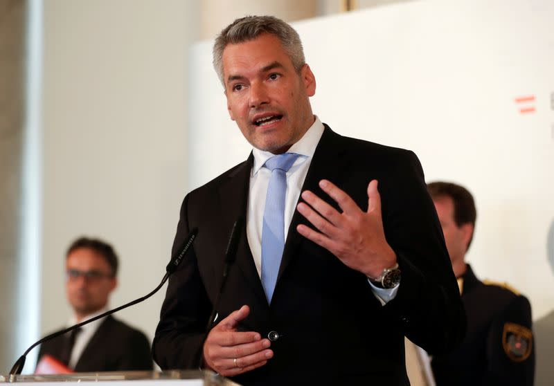 FILE PHOTO: Austrian Interior Minister Nehammer attends a news conference in Vienna