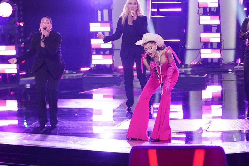 """Ariana Grande performs """"Respect"""" during the blind auditions kickoff episode for 'The Voice,' Sept. 20. - Credit: Tyler Golden/NBC"""