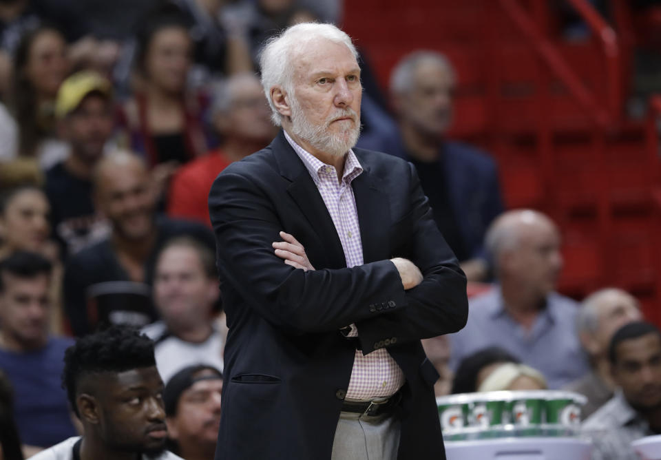 Gregg Popovich doesn't like the three-point shot. (AP Photo)