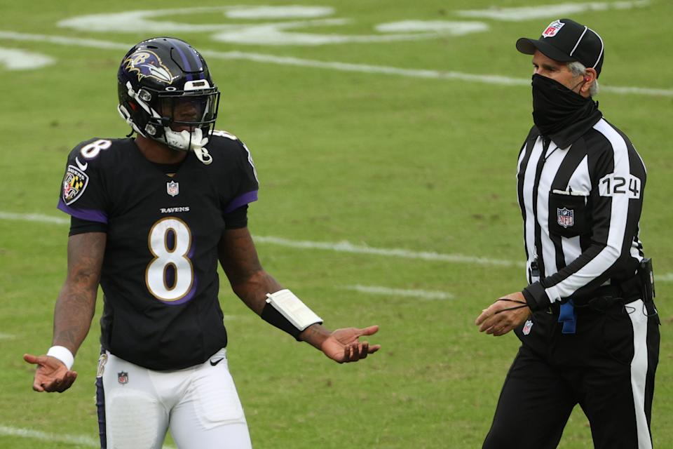Quarterback Lamar Jackson and the Baltimore Ravens have lost two in a row. (Photo by Patrick Smith/Getty Images)