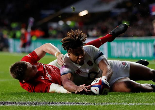 Rugby Union - Six Nations Championship - England vs Wales - Twickenham Stadium, London, Britain - February 10, 2018 England's Anthony Watson in action with Wales' Gareth Anscombe before a try is disallowed for Wales Action Images via Reuters/Paul Childs