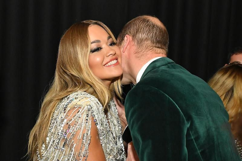The Duke of Cambridge, Patron of Centrepoint, meets Rita Ora at the event on Wednesday night (Getty Images)