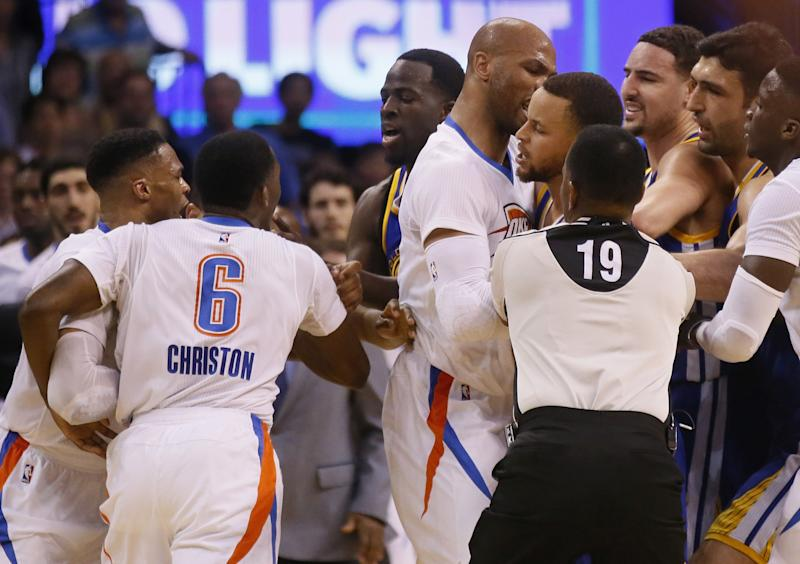 Things got testy late in the second quarter of Monday's Warriors-Thunder game. (AP)