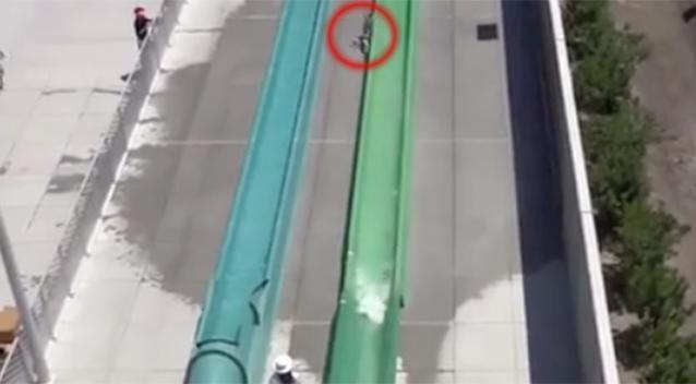 Video has captured the moment the boy fell off the slide. Photo: Bay Area News Group