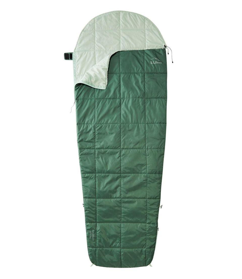 """<p>llbean.com</p><p><strong>$79.00</strong></p><p><a href=""""https://go.redirectingat.com?id=74968X1596630&url=https%3A%2F%2Fwww.llbean.com%2Fllb%2Fshop%2F125157%3Fpage%3Dadults-llbean-stowaway-switchback-sleeping-bag-long%26feat%3Dsleeping%2Bbag-SR0%26csp%3Da%26attrValue_0%3DCamp%2BGreen%26searchTerm%3Dsleeping%2Bbag%26pos%3D1&sref=https%3A%2F%2Fwww.countryliving.com%2Fshopping%2Fgifts%2Fg23549426%2Fcamping-gifts%2F"""" rel=""""nofollow noopener"""" target=""""_blank"""" data-ylk=""""slk:Shop Now"""" class=""""link rapid-noclick-resp"""">Shop Now</a></p><p>This lightweight sleeping bag is great for warmer months and will keep you cozy into the fall. </p>"""
