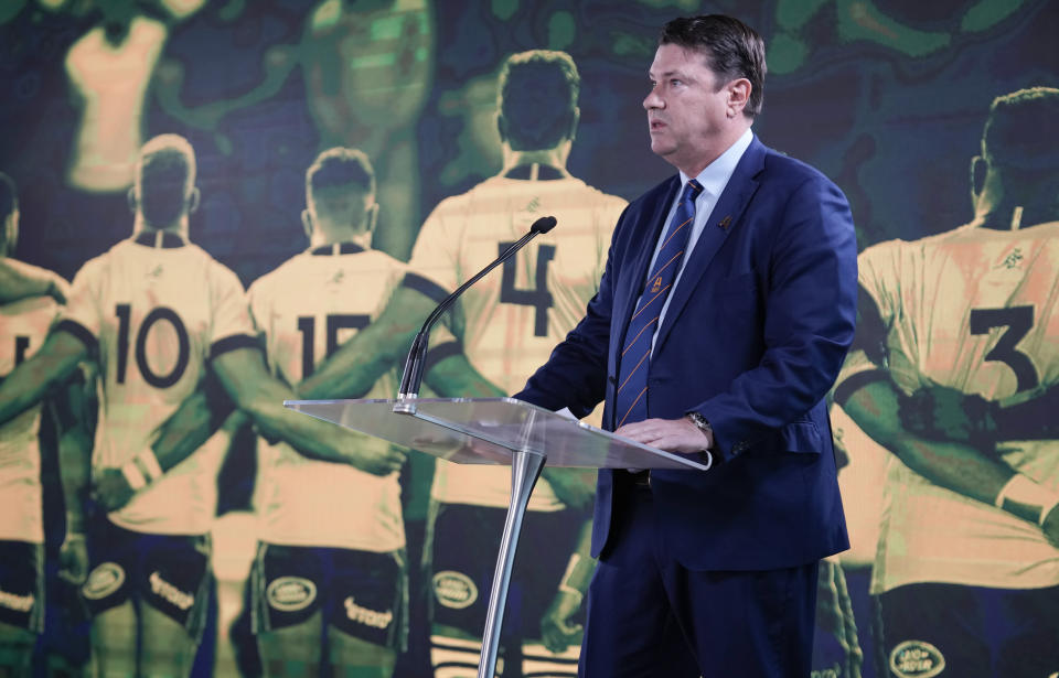 Rugby Australia Chairman Hamish McLennan addresses a media event in Sydney where Australia formally announced its bid to host the 2027 Rugby World Cup, Thursday, May 20, 2021. It would be the third time the sport's showcase event would be held in the country. (AP Photo/Mark Baker)
