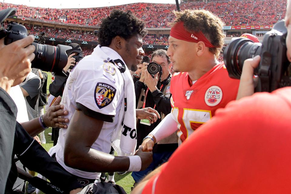 The Ravens' Lamar Jackson, left, and the Chiefs' Patrick Mahomes last met on the field Sept. 22, 2019, in Kansas City. The Chiefs won the game 33-28.