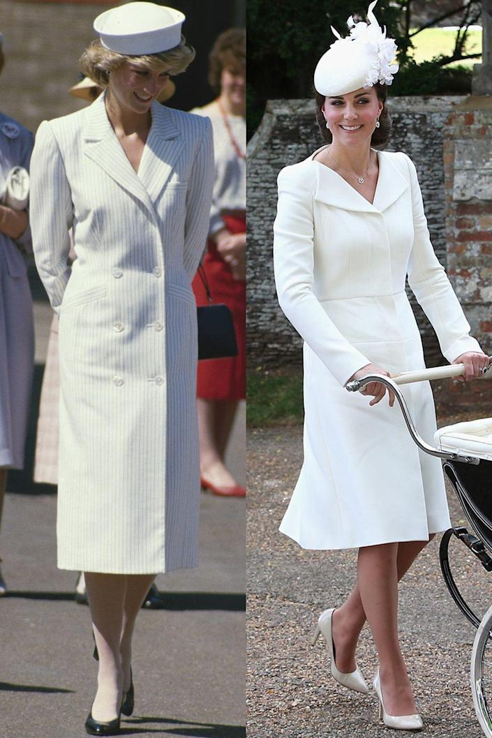 <p>Diana in Catherine Walker on a visit to the Isle of Wight in May 1985; Kate in Alexander McQueen at Princess Charlotte's christening in July 2015.</p>