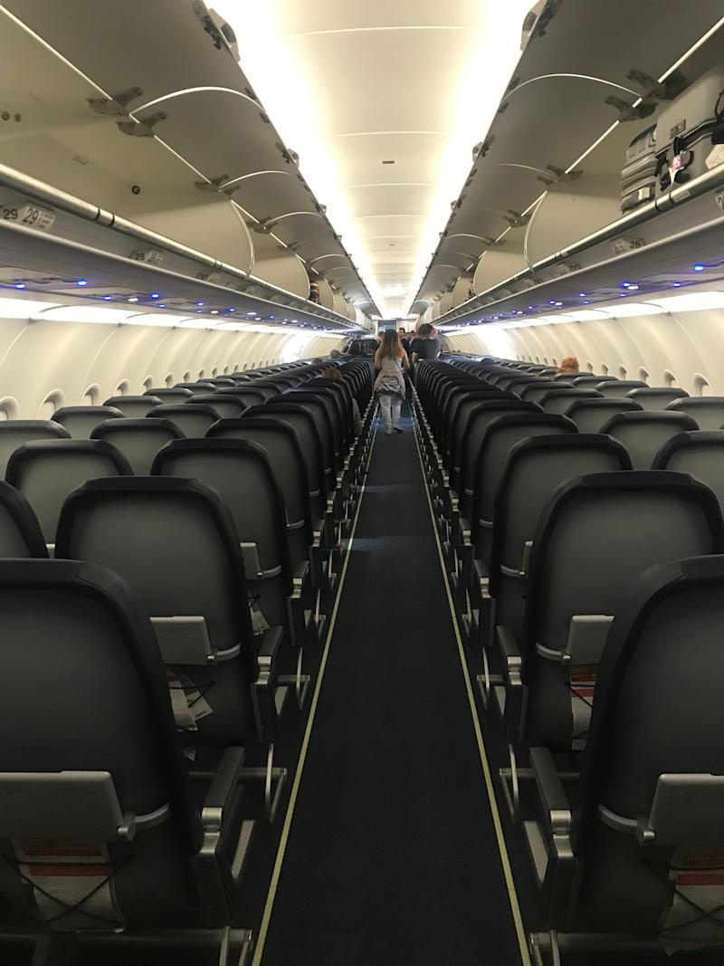 The interior of a Spirit Airlines Airbus jet.