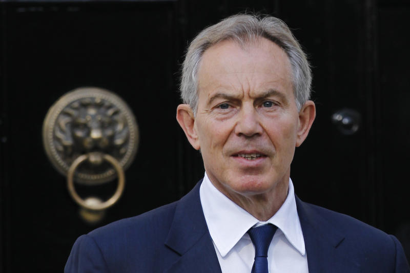 Former British Prime Minister Tony Blair leaves his house in central London, Monday, May 28, 2012.  Blair will later appear at the UK media ethics inquiry examining whether politicians and press barons traded favors in the run-up to the phone hacking scandal that brought down Rupert Murdoch's News of the World. (AP Photo/Sang Tan)
