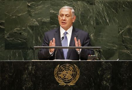 Israel's Prime Minister Benjamin Netanyahu addresses the 69th United Nations General Assembly at the U.N. headquarters in New York September 29, 2014. REUTERS/Mike Segar