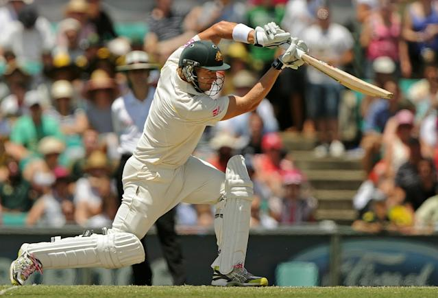 Australian batsman Shane Watson plays a drive on day four of the fifth Ashes cricket Test against England at the Sydney Cricket Ground on January 6, 2011. Watson was later run-out for 38 runs. IMAGE STRICTLY RESTRICTED TO EDITORIAL USE - STRICTLY NO COMMERCIAL USE AFP PHOTO / Greg WOOD (Photo credit should read GREG WOOD/AFP/Getty Images)