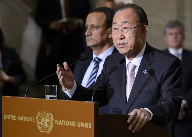 United Nations General Secretary Ban Ki-moon speaks next to the UN Special Envoy for Yemen Ismail Ould Cheikh Ahmed on June 15, 2015 during a press conference in Geneva