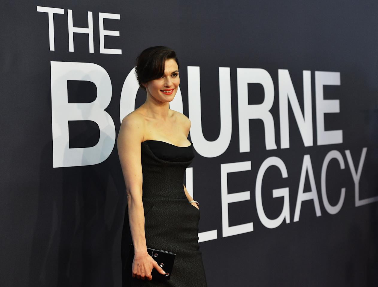 "NEW YORK, NY - JULY 30:  Actress Rachel Weisz attends ""The Bourne Legacy"" premiere at the Ziegfeld Theater on July 30, 2012 in New York City.  (Photo by Larry Busacca/Getty Images)"