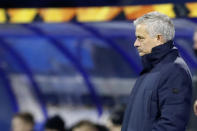 Tottenham's manager Jose Mourinho during the Europa League round of 16 second leg soccer match between Dinamo Zagreb and Tottenham Hotspur at the Maksimir stadium in Zagreb, Croatia, March 18, 2021. (AP Photo/Darko Bandic)