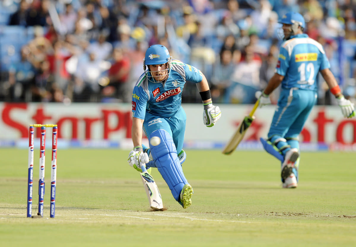 Aaron Finch captain of Pune Warriors bats during match 71 of the Pepsi Indian Premier League ( IPL) 2013  between The Pune Warriors India and the Delhi Daredevils held at the Subrata Roy Sahara Stadium, Pune on the 19th May 2013.(BCCI)