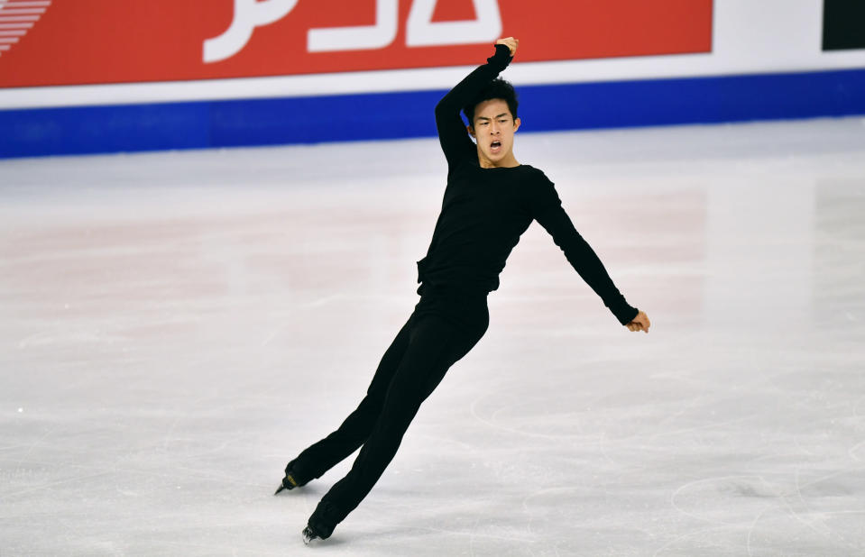 Nathan Chen of the USA performs during the Men Free Skating Program at the Figure Skating World Championships in Stockholm, Sweden, Saturday, March 27, 2021. (AP Photo/Martin Meissner)