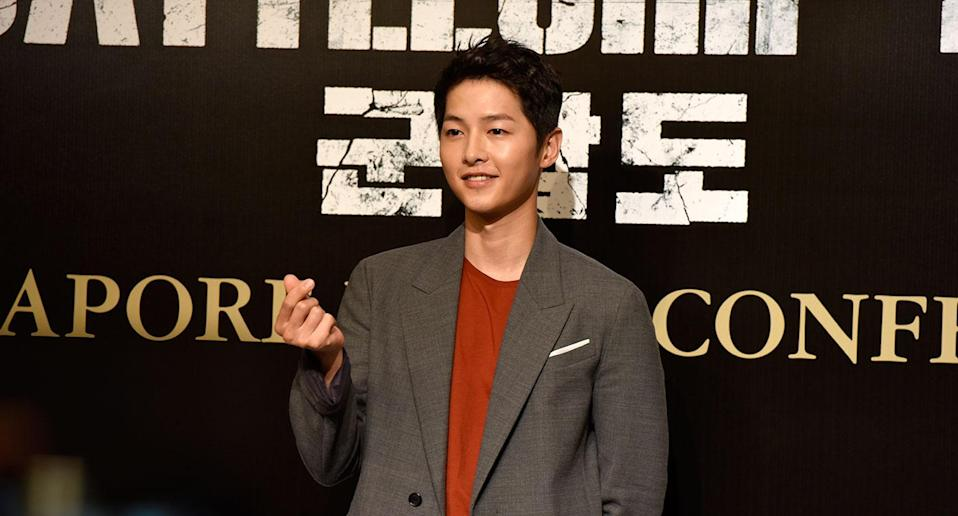 Song Joong-ki at The Battleship Island press conference in Singapore. (Photo: Yahoo Lifestyle Singapore/Elizabeth Tong)