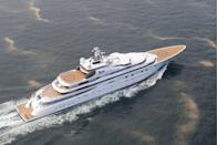 """<p>Launched in 2012, the yacht formerly known as <em>Topaz</em> stretches 483.1 feet long and reaches speeds up to 19.5 knots. And with interiors by the renowned <a href=""""http://www.terencedisdale.co.uk/"""" rel=""""nofollow noopener"""" target=""""_blank"""" data-ylk=""""slk:Terrence Disdale"""" class=""""link rapid-noclick-resp"""">Terrence Disdale</a>, you know this behemoth is as spectacular on the inside as its exterior. It's equipped with an on-deck Jacuzzi, double helicopter landing pad, swimming pool, fitness center, cinema room, and a snazzy conference room. A+ is reportedly owned by Sheikh Mansour, deputy prime minister of the UAE, and can accommodate up to 62 guests and 79 crew members.</p>"""