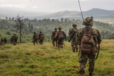Paratroopers from 1st Battalion, 508th Parachute Infantry Regiment conduct a training patrol alongside British paratroopers of 2PARA, 16 Air Assault Brigade on November 28, 2018 in Kenya, Africa. Photo credit: Spc. John Lytle*