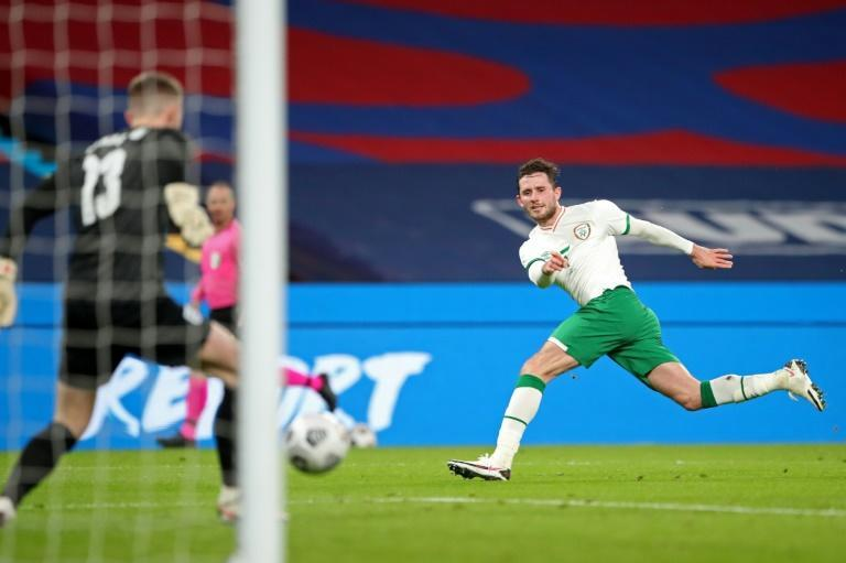 Positive test - Republic of Ireland midfielder Alan Browne (R) in action against England on Thursday