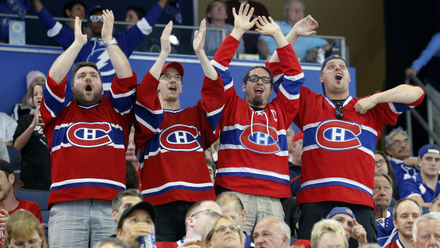 "<a class=""link rapid-noclick-resp"" href=""/nhl/teams/mon"" data-ylk=""slk:Montreal Canadiens"">Montreal Canadiens</a> fans of a certain age are reported to be at risk of a heart attack in the aftermath of on-ice triumph. (AP Photo/Mike Carlson)"