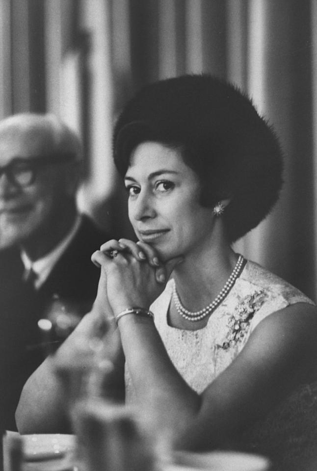 Princess Margaret at the Hilton Hotel for a charity luncheon and fashion show in San Francisco during her and Lord Snowdon's royal tour of America in November 1965.
